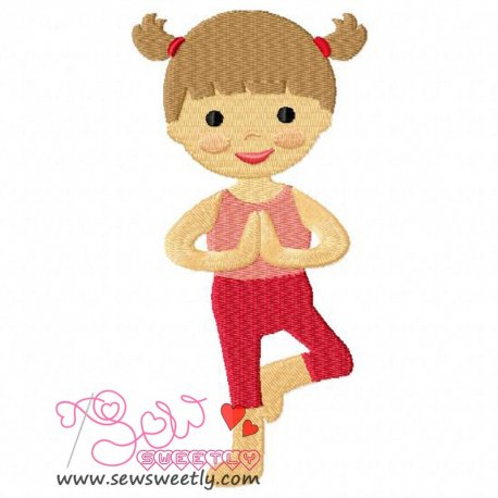 Yoga Girl-1 Embroidery Design For Sports Event And Kids