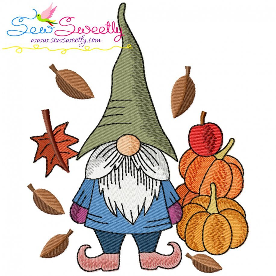 Fall Gnome-8 Embroidery Design- Category- Fall And Thanksgiving- 1