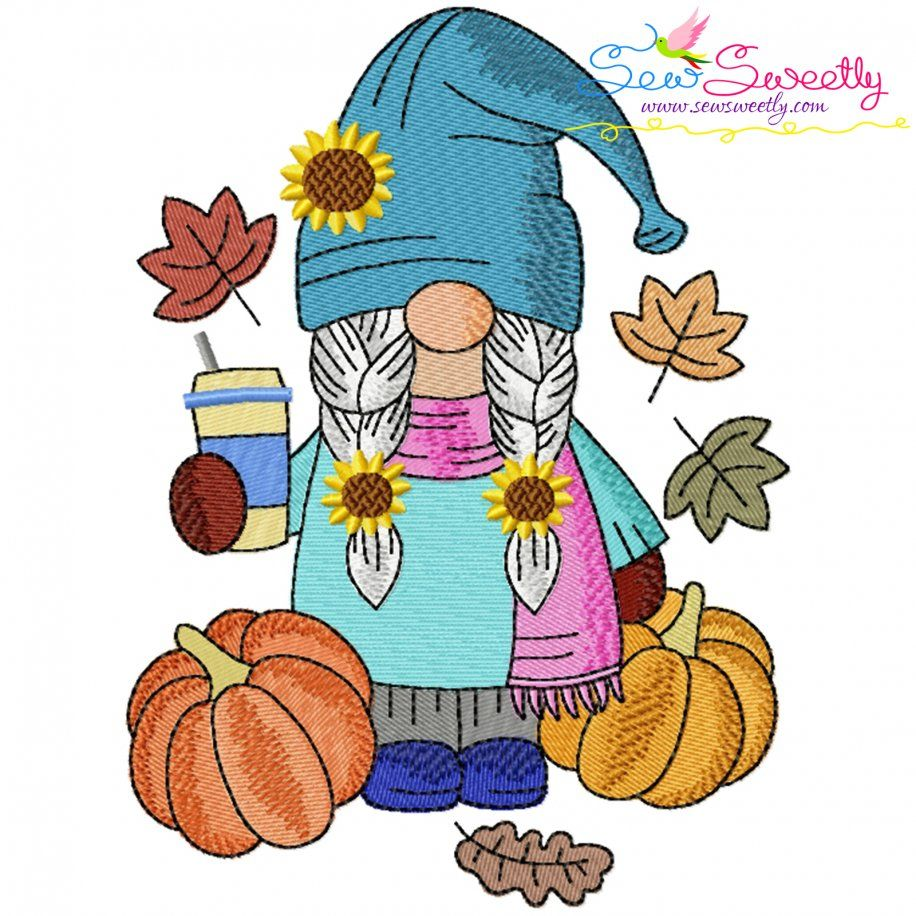Fall Gnome-7 Embroidery Design- Category- Fall And Thanksgiving- 1