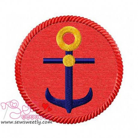 Anchor Badge Applique Design For Hand Towels And Other Projects