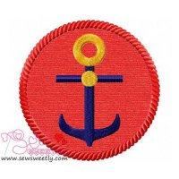 Anchor Badge Applique Design