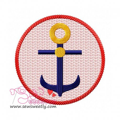 Anchor Badge Embroidery Design Pattern- Category- Sea Life Designs- 1