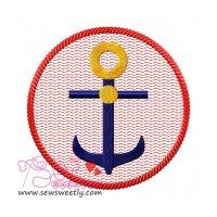 Anchor Badge Embroidery Design