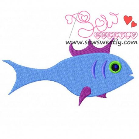 Blue Fish Embroidery Design For Kids