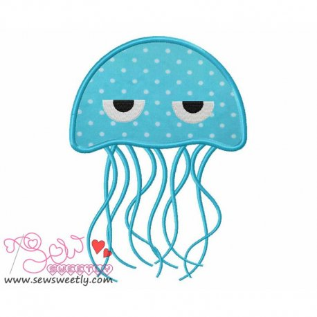 Blue Jelly Fish Applique Design For Kids