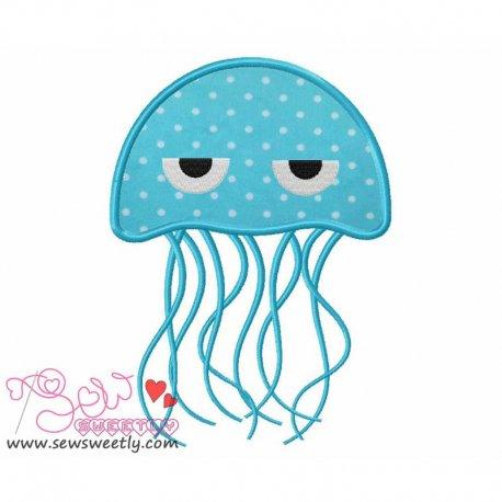 Blue Jelly Fish Applique Design For Kids