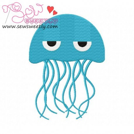 Blue Jelly Fish Embroidery Design For Kids