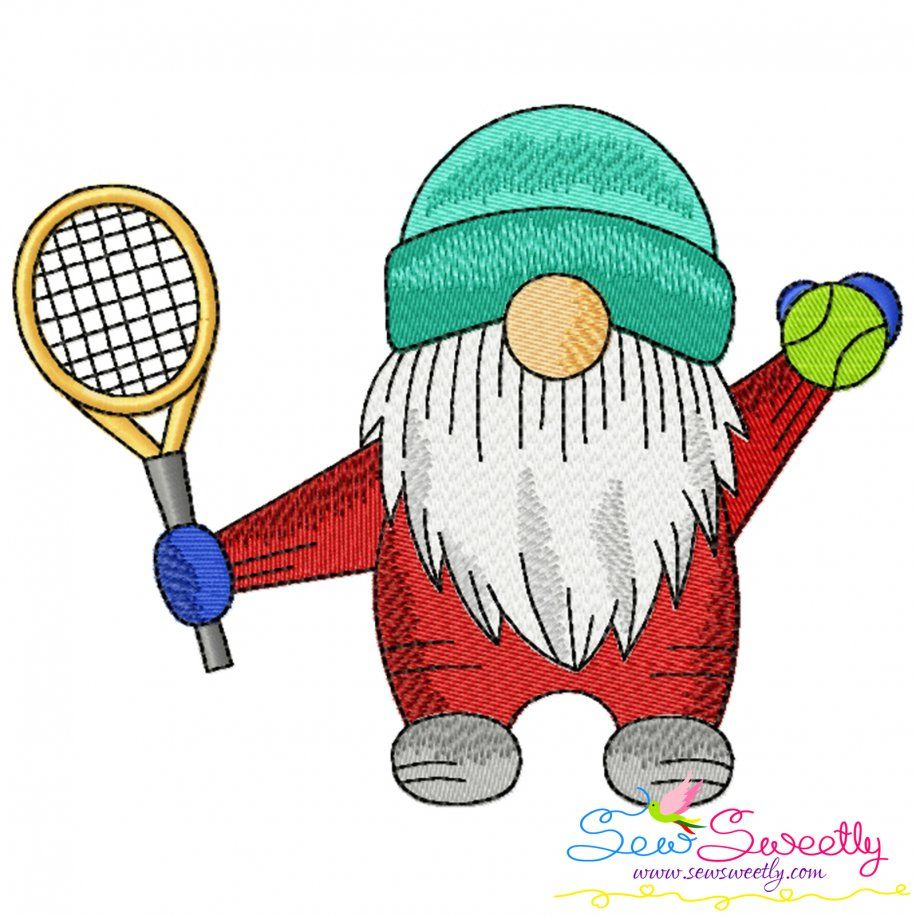 Sports Gnome Tennis Boy Embroidery Design- Category- Sports Designs- 1