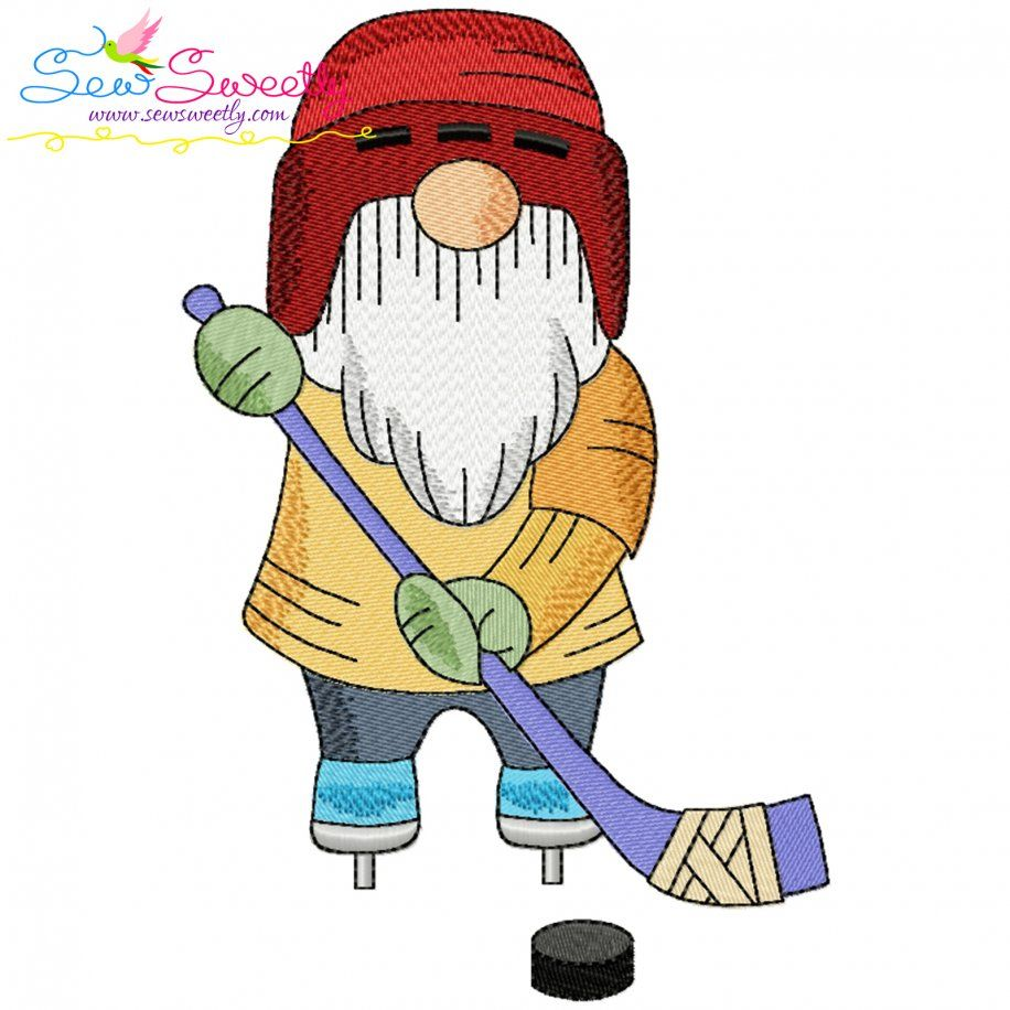 Sports Gnome Ice Hockey Boy Embroidery Design- Category- Sports Designs- 1
