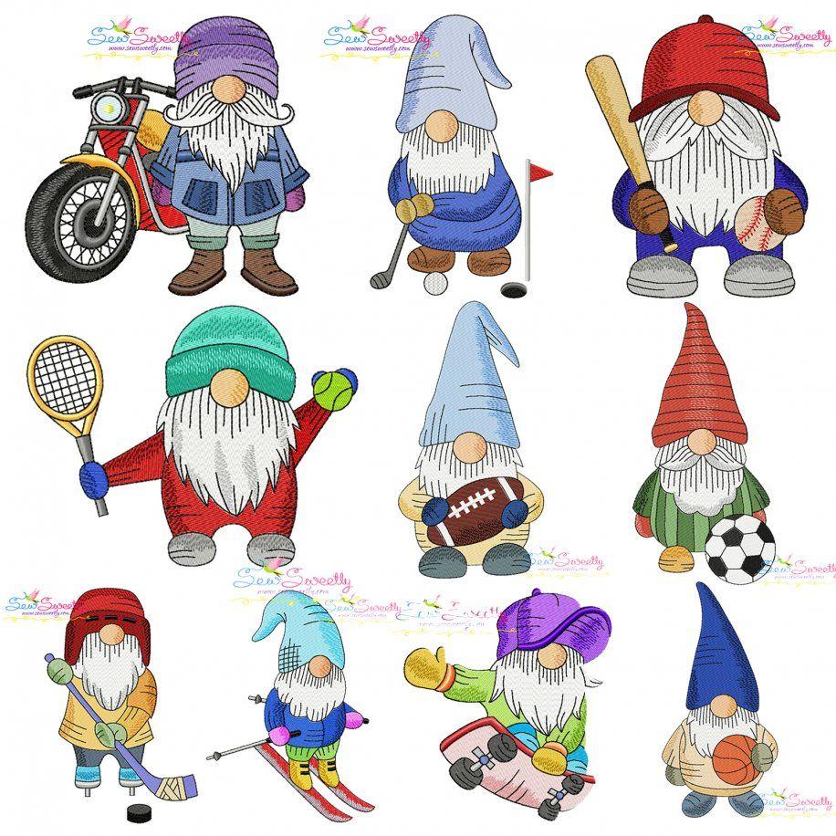 Sports Gnomes Boy Embroidery Design Bundle- Category- Embroidery Design Bundles- 1