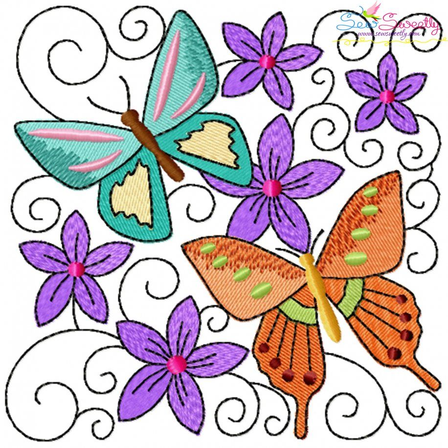 Butterfly And Flowers Quilt Block-10 Embroidery Design- Category- Floral Designs- 1