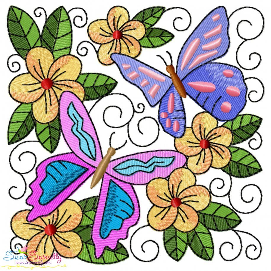 Butterfly And Flowers Quilt Block-9 Embroidery Design- Category- Floral Designs- 1