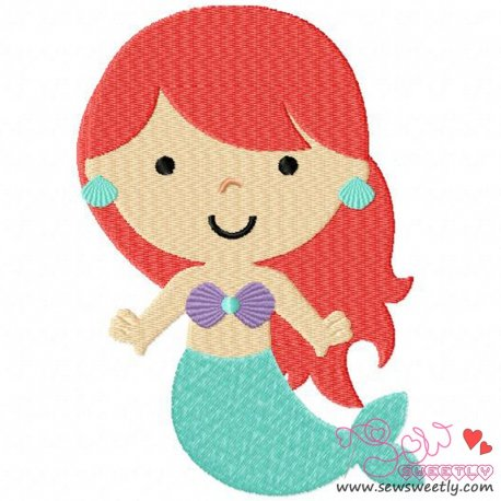 Classic Mermaid-1 Embroidery Design For Kids