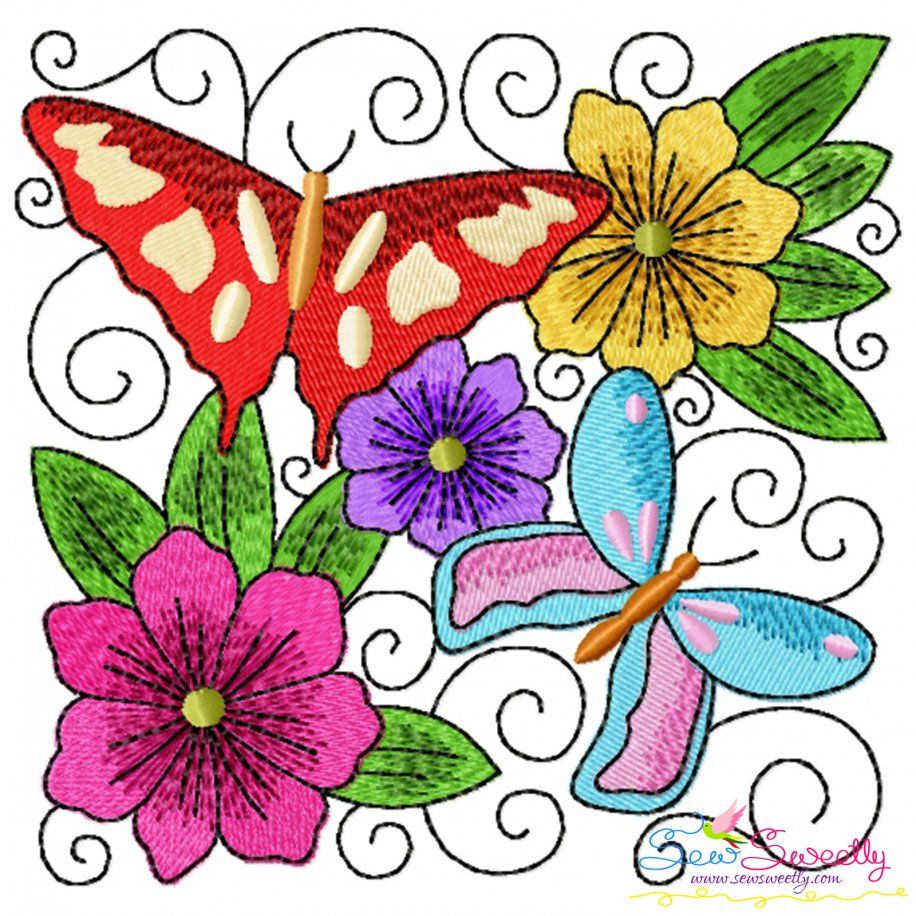 Butterfly And Flowers Quilt Block-8 Embroidery Design- Category- Floral Designs- 1