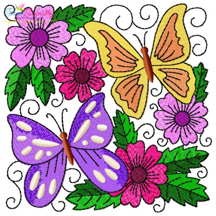 Butterfly And Flowers Quilt Block-7 Embroidery Design- Category- Floral Designs- 1