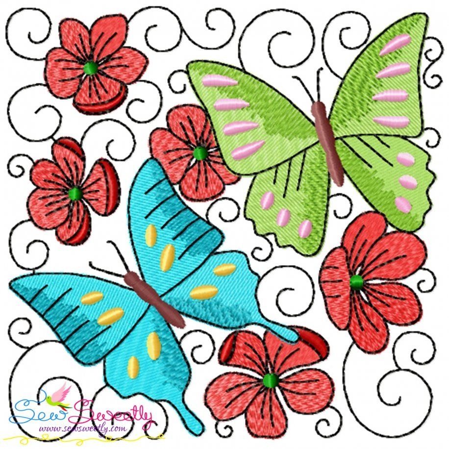 Butterfly And Flowers Quilt Block-6 Embroidery Design- Category- Floral Designs- 1