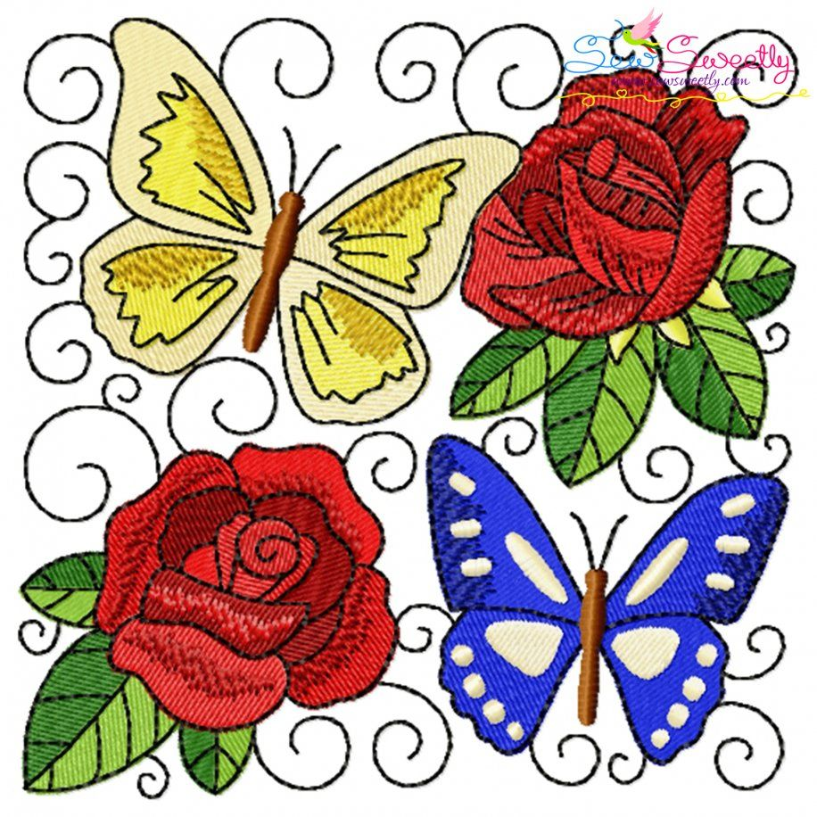 Butterfly And Flowers Quilt Block-5 Embroidery Design- Category- Floral Designs- 1