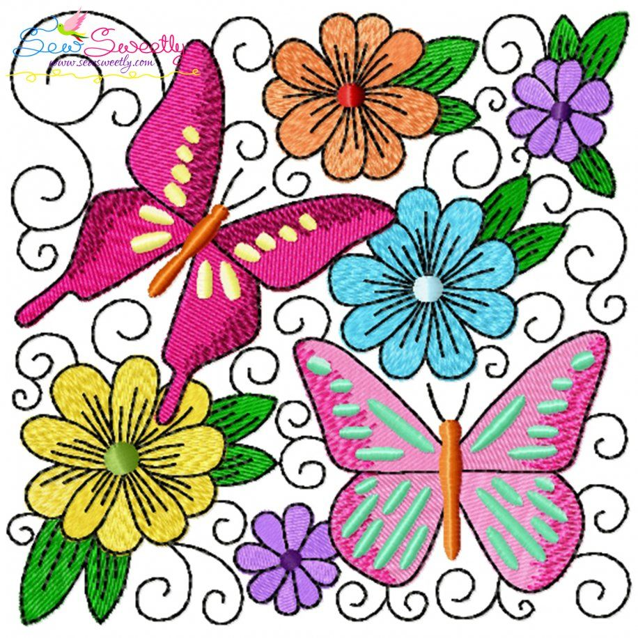 Butterfly And Flowers Quilt Block-4 Embroidery Design- Category- Floral Designs- 1