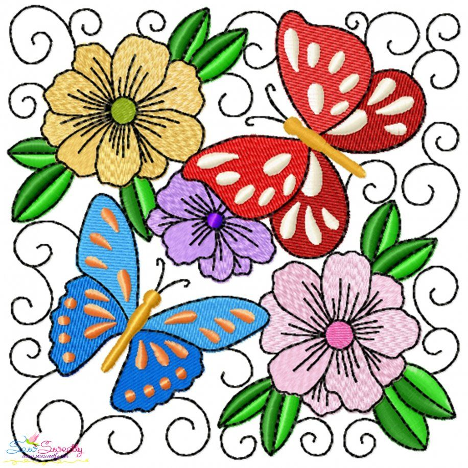 Butterfly And Flowers Quilt Block-3 Embroidery Design- Category- Floral Designs- 1