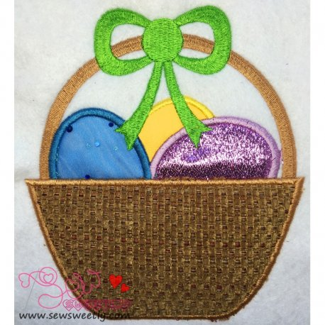 Easter Egg Basket Applique Design For Kids