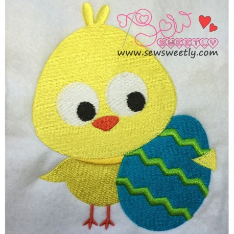 Cute Chick With Egg Embroidery Design For Easter And Kids