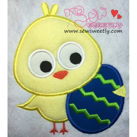 Cute Chick With Egg Applique Design For Easter And Kids