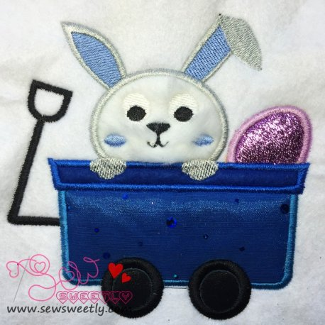 Cute Bunny In Wagon Applique Design
