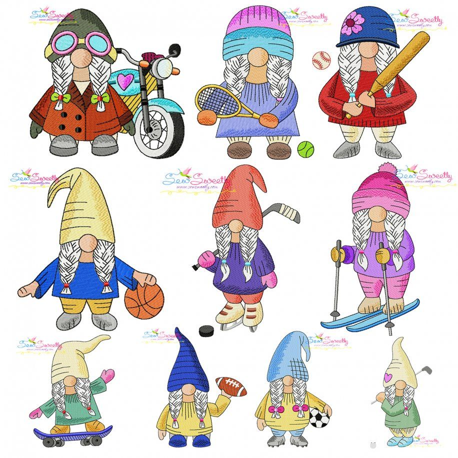 Sports Gnomes Girls Embroidery Design Bundle- Category- Embroidery Design Bundles- 1