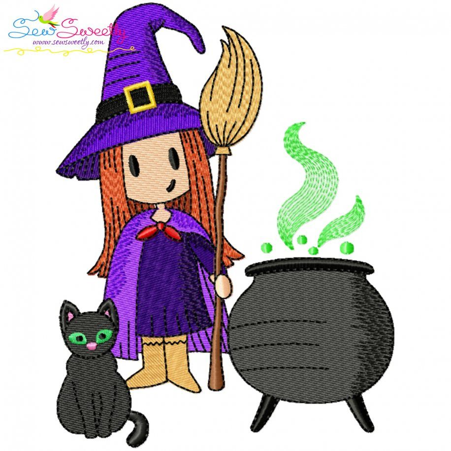 Halloween Cauldron Cat And Witch Embroidery Design- Category- Halloween Designs- 1