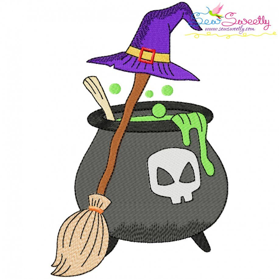 Halloween Cauldron Broom And Witch Hat Embroidery Design- Category- Halloween Designs- 1
