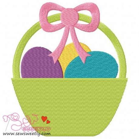 Easter Egg Basket Embroidery Design For Kids