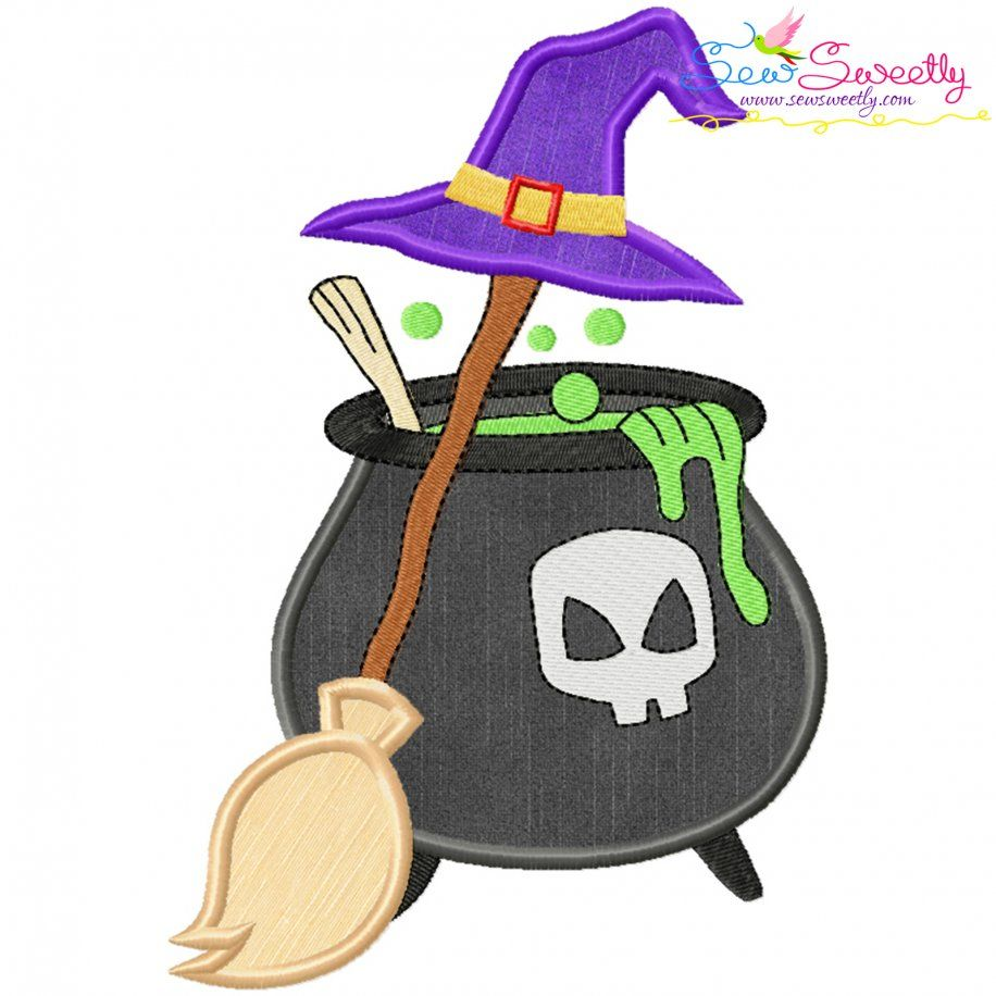 Halloween Cauldron Broom And Witch Hat Applique Design- Category- Halloween Designs- 1