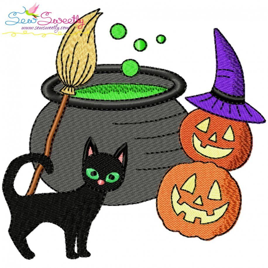 Halloween Cauldron Cat And Pumpkins Embroidery Design- Category- Halloween Designs- 1