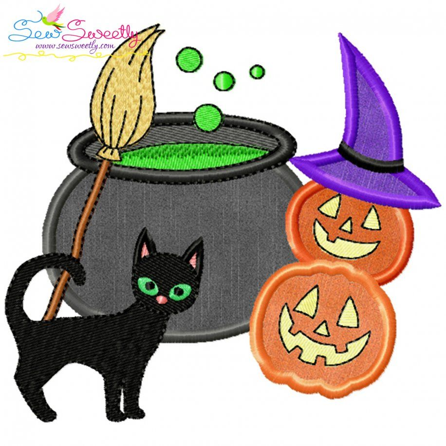 Halloween Cauldron Cat And Pumpkins Applique Design- Category- Halloween Designs- 1