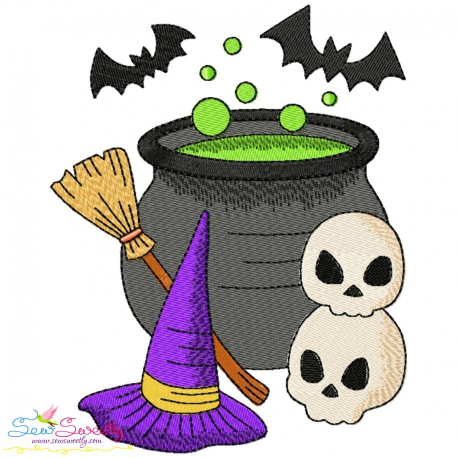 Halloween Cauldron Witch Hat And Skulls Embroidery Design- Category- Halloween Designs- 1