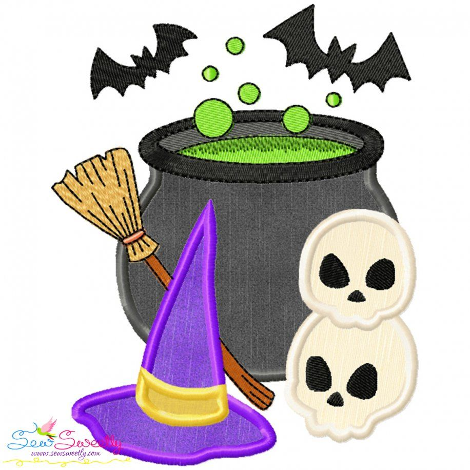 Halloween Cauldron Witch Hat And Skulls Applique Design- Category- Halloween Designs- 1
