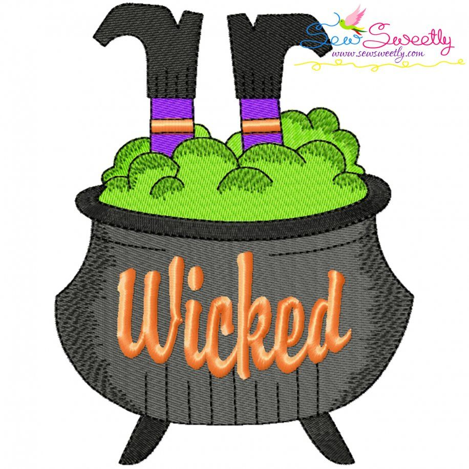 Halloween Cauldron And Witch Legs Embroidery Design- Category- Halloween Designs- 1