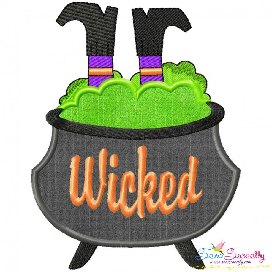 Halloween Cauldron And Witch Legs Applique Design- Category- Halloween Designs- 1