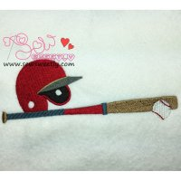 Baseball With Helmet Embroidery Design