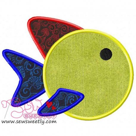 Cute Colorful Cartoon Fish Machine Applique Design For Kids