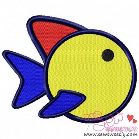 Cute Colorful Cartoon Fish Machine Embroidery Design For Kids