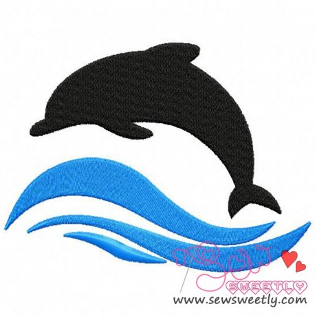 Cute Dolphin Silhouette Fish Machine Embroidery Design For Kids