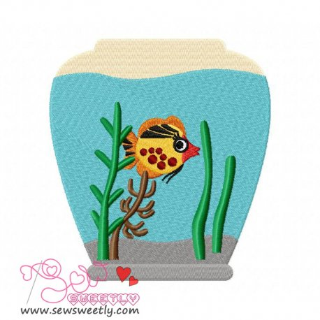 Fish Bowl-2 Machine Embroidery Design For Kids
