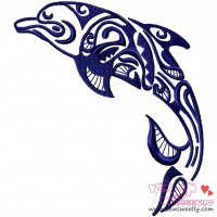 Floral Dolphin-1 Embroidery Design