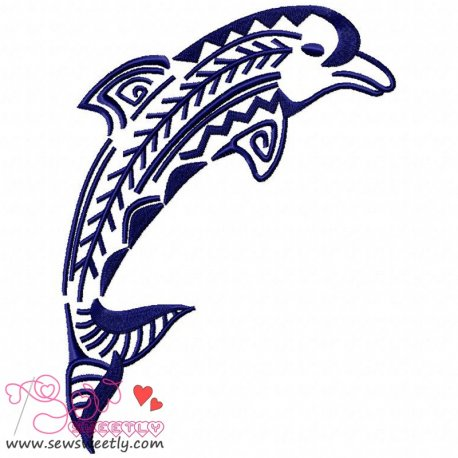 Cute Floral Dolphin-2 Machine Embroidery Design For Beach Towels