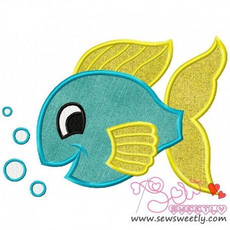 Cute Pretty Fish Machine Applique Design For Kids