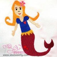 Sweet Heart Mermaid Embroidery Design
