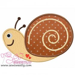 Cute Forest Friends Snail Machine Applique Design For Kids