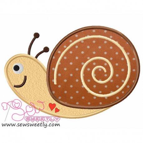Cute Forest Friends Snail Machine Applique Design For Kids