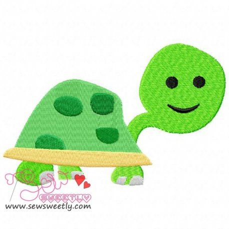 Green Turtle Machine Embroidery Design For Kids